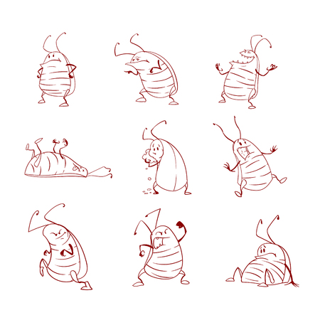Collection of line art vector cartoon cockroaches Illustration