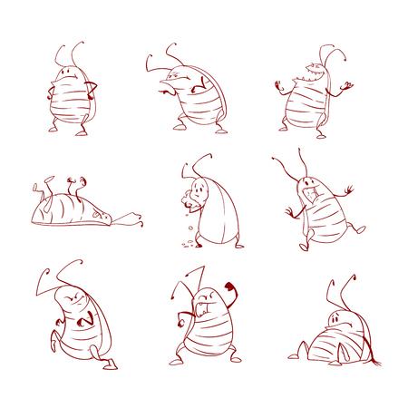 Verzameling van lijnkunst vector cartoon kakkerlakken