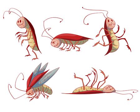 Verzameling van kleurrijke vector cartoon kakkerlakken Stock Illustratie