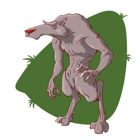Kleurrijke vector illustratie van een cartoon weerwolf karakter Stock Illustratie