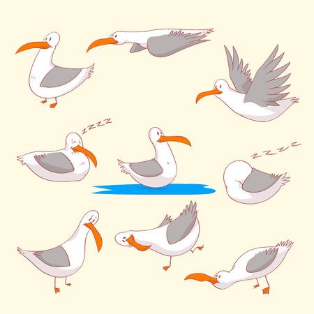 Verzameling van kleurrijke vectorillustraties van cartoon mariene burds of meeuwen in verschillende posities