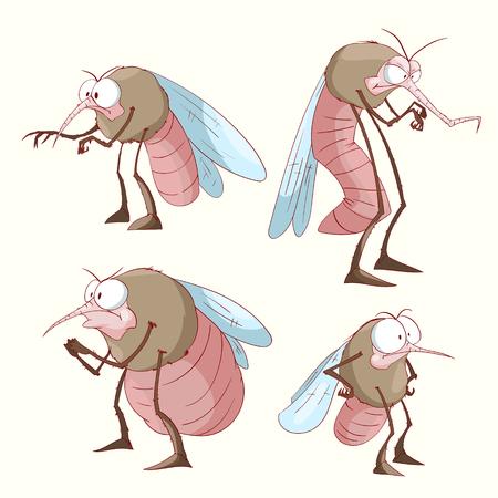 Verzameling van kleurrijke vector muskietillustraties
