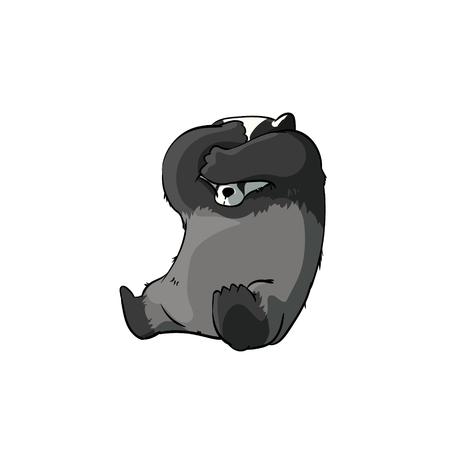 Kleurrijke vector illustratie van een verlegen cartoon badger Stock Illustratie