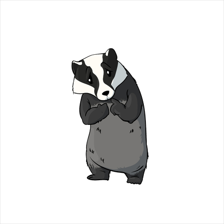 Colorful vector illustration of a shy cartoon badger