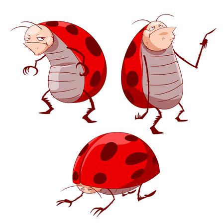 Kleurrijke illustratie van griezelige cartoon lieveheersbeestjes.