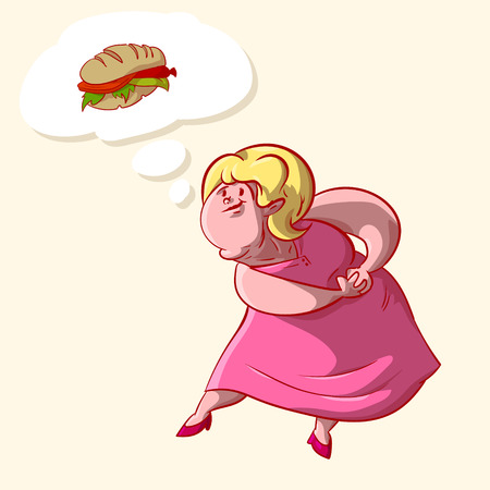 Colorful illustration of a overweight lady craving about food.