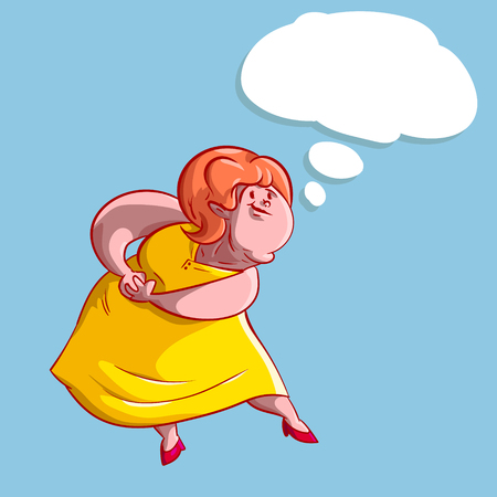 Colorful illustration of a overweight lady thinking.