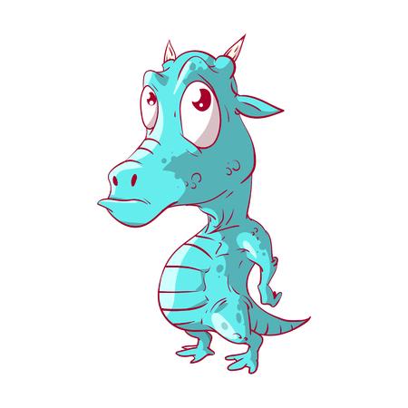 Kleurrijke vector illustratie van een cutre cartoon baby draak