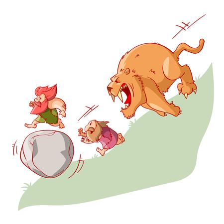 Kleurrijke vector illustratie van cartoon cavement, runing van een sabertooth tijger, uitvinden van het wiel in het proces Stock Illustratie