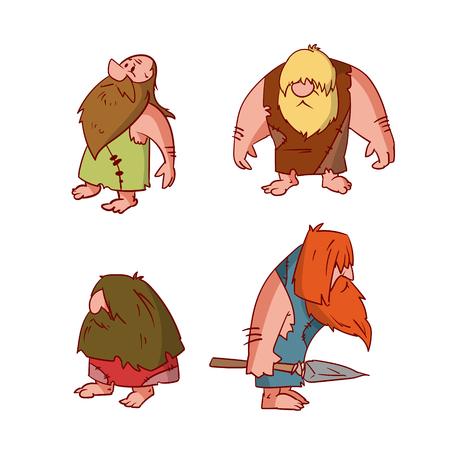 Verzameling van kleurrijke vector illustraties van cartoon cavemen