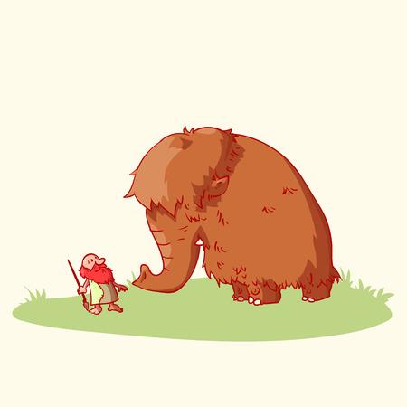 Kleurrijke vector illustratie van een cartoon caveman en een wolle mammoet.