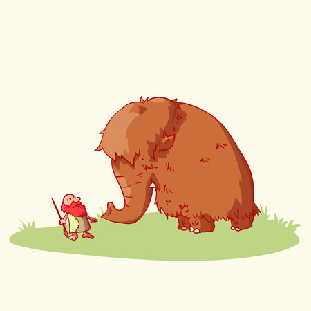 Colorful vector illustration of a cartoon caveman and a woolly mammoth. Illustration