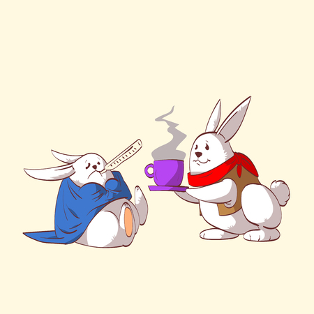 Colorful vector illustration of two cartoon rabbits, one sick and one taking care of the other, serving tea