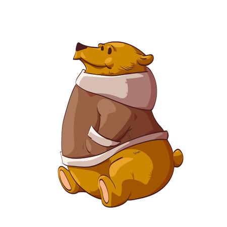 Kleurrijke vector illustratie van een cartoon bruine beer of grizzly, het dragen van een warme winterjas