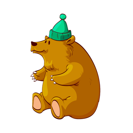 Colorful vector illustration of a cartoon brown bear or grizzly, sitting on its butt, smiling, wearing a warm winter green hat Ilustrace