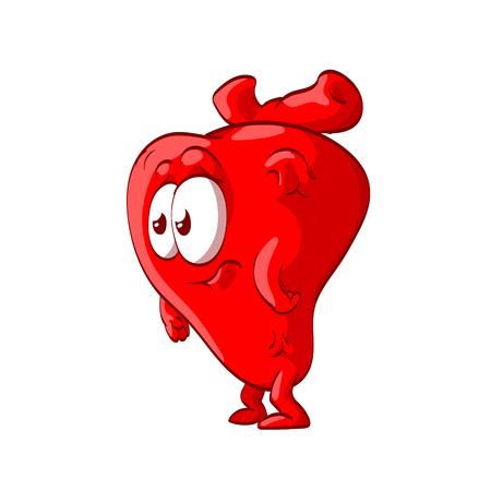 Kleurrijke vectorillustratie van een beeldverhaal anatomisch hart met gezicht, kijkend geschokt, verward of droevig Stock Illustratie