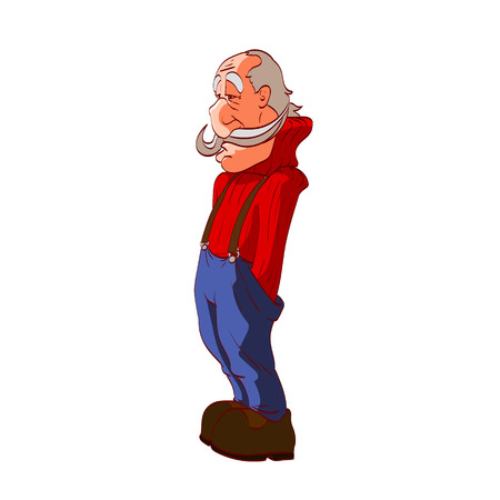 Colorful vector illustration of a midle aged man, worker with working clothes overalls Ilustrace