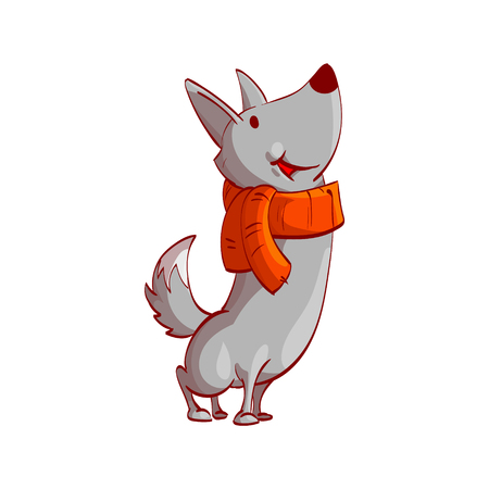 Colorful vector illustration of a cartoon vector wolf with red scarf, smiling, looking up. Illustration