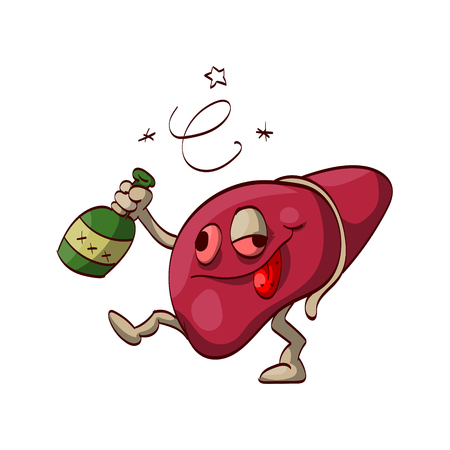 Colorful vector illustration of a cartoon alcoholic liver