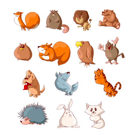 Collection of colorful cute animals cartoon vector illustration.