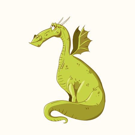 Kleurrijke vector illustratie van een cartoon groene draak, blij en lachend. Stock Illustratie