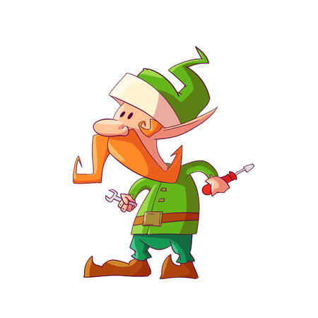 Colorful illustration of a cartoon Christmas elf