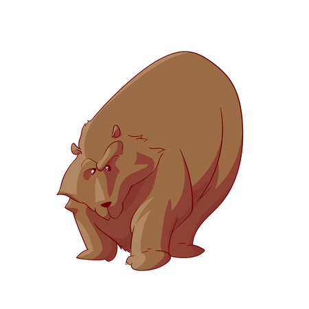 Colorful vector illustration of a cartoon fat and angry bear