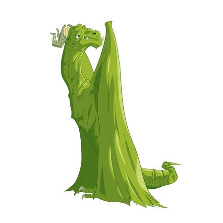 Kleurrijke vectorillustratie van een cartoon boze slechte draak. Stock Illustratie