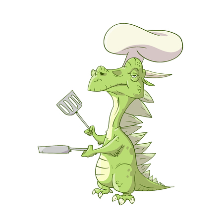 Colorful vector illustration of a cartoon dragon cook or a chef, with a hat
