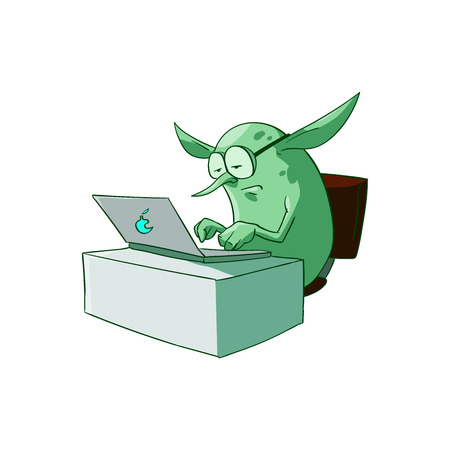 Colorful vector illustration of a cartoon office, corporate troll or goblin.