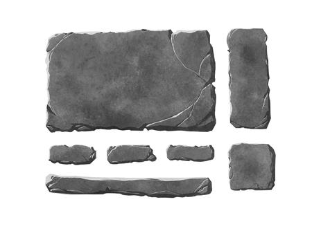 Een reeks realistische stenen interface-knoppen en fantasie-elementen. Getextureerde tabletten en panelen.