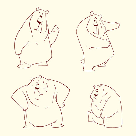 Set of outline bear illustrations