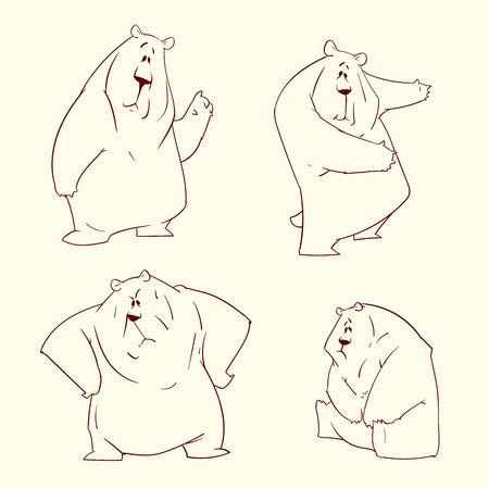 Set of outline bear illustrations