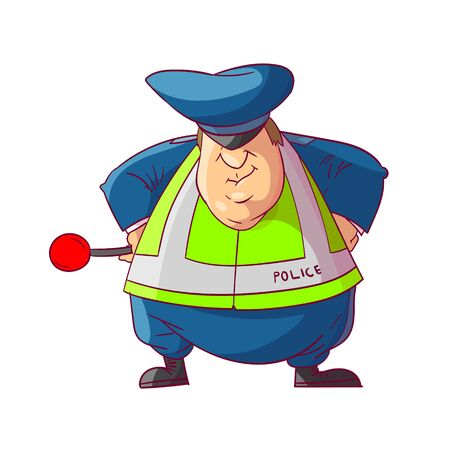 Colorful vector illustration of a fat cartoon traffic police officer 스톡 콘텐츠 - 135076646