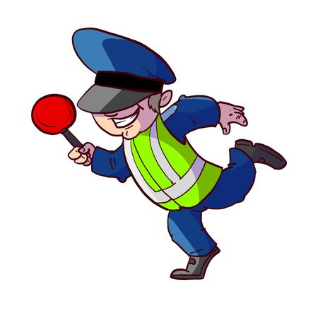 Colorful vector illustration of a cartoon traffic police officer 스톡 콘텐츠 - 135076643