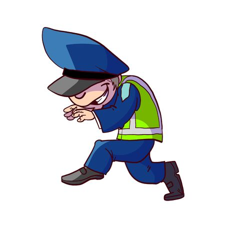 Colorful vector illustration of a cartoon traffic police officer