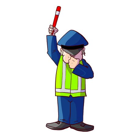 Colorful vector illustration of a cartoon traffic police officer 스톡 콘텐츠 - 135076644