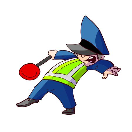 Colorful vector illustration of a cartoon traffic police officer 스톡 콘텐츠 - 135076715