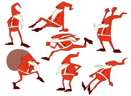 Colorful vector illustration set of funny cartoony santas 矢量图像