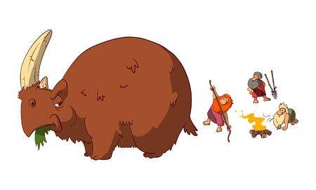 Colorful vector illustration of a funny scene of prehestoric cavemen preparing to hunt an angry wooly rhino. 일러스트