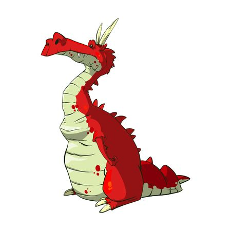 Cartoon vector illustration of a red dragon with horns and sad look