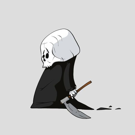 Colorful vector illustration of a tiny kid grim reaper with a small scythe 스톡 콘텐츠 - 138475631