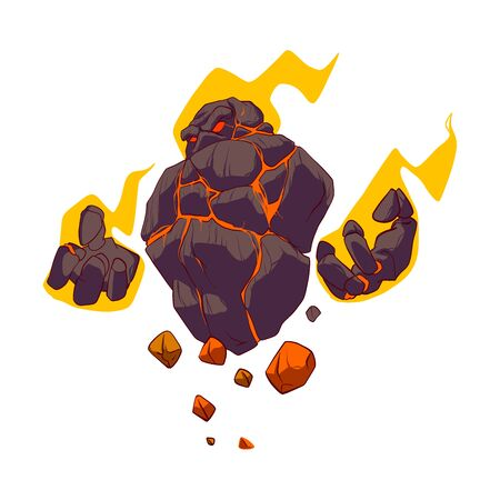 Colorful cartoon vector illustration of a fiery lava golem in flames