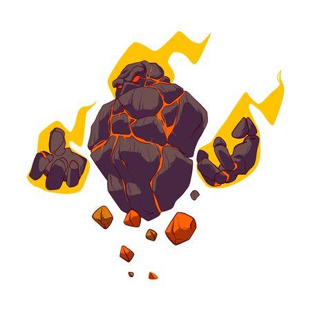 Illustration vectorielle de dessin animé coloré d'un golem de lave ardent en flammes