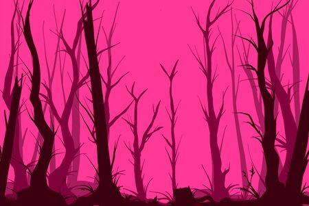 Colorful vector illustration of a pink dark and creepy forest 일러스트