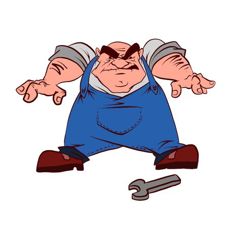Colorful vector illustration of a cartoon grumpy plummer, technician or mechanic
