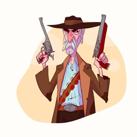 Colorful vector illustration of a cartoon bounty hunter, cowboy or an outlaw.