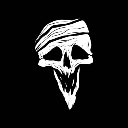 Vector illustration of a pirate scull on a black background
