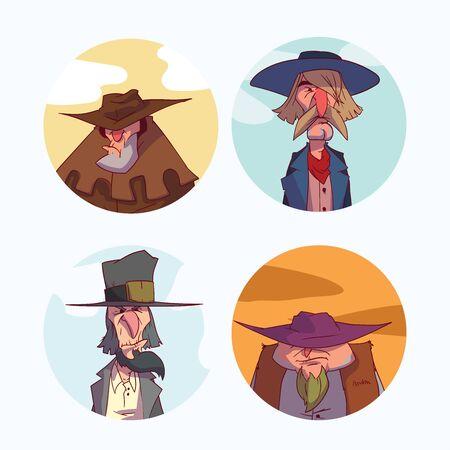 Colorful cartoon portrait set of cowboy, bounty hunters or outlaw illustrations