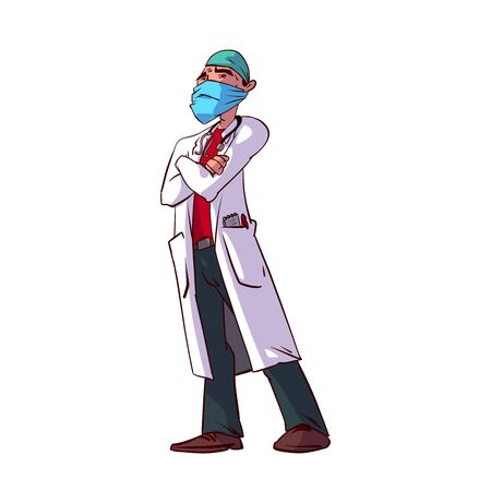 Colorful vector illustration of a male doctor specialist 일러스트